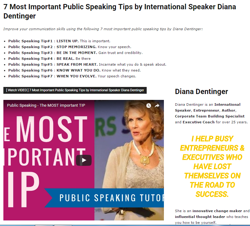 7 Most Important Public Speaking Tips by International Speaker Diana Dentinger