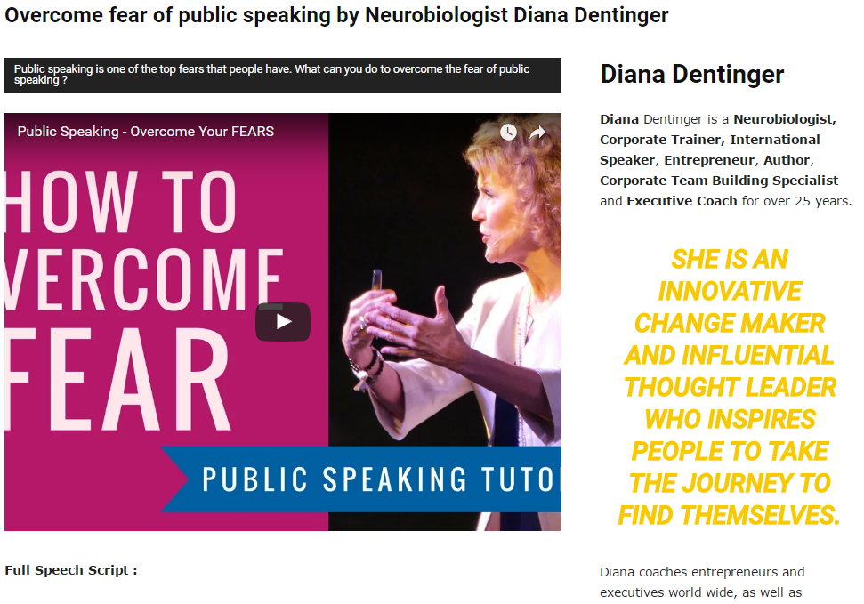 Overcome fear of public speaking by neurobiologist Diana